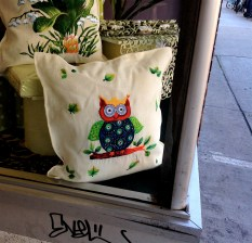 adorable owl pillow in neighbourhood linen shop