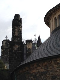 closer look at chimneys and iron work above Croft House