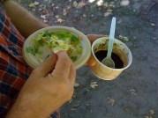 delicious veggie tostada and black bean chili