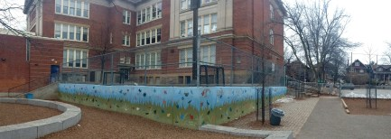 Panorama of the bug and butterfly schoolyard mural