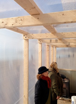 Winter Stations: Skylar and Elizabeth inside Sauna