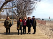 Elizabeth, Skylar, Heather, Jan, Lori. (Vicki snapped this photo.) We take a break from walking on the sand. Definitely ready for brunch.
