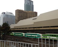 GO train heading west out of Union Station.