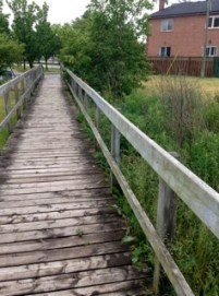 A sweet bridge/path in Beaver-Lightbourn Parkette - maybe a slightly marshy area below?