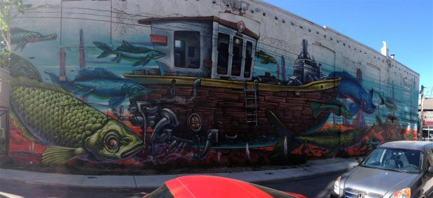 Bruno finished! Love Letter to the Great Lakes work by Bruno Smoky, on Rebecca Street.