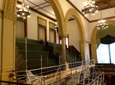 The parliamentary chamber and viewing gallery are currently undergoing a few summer renovations.