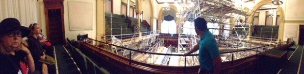 Panorama in the legislature - Elizabeth, Skylar and our guide Eric.