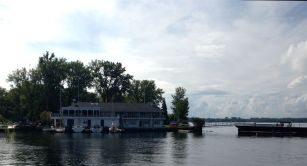 A view of the Yacht Club from the Centre Island ferry dock. We just missed the Ward's ferry, so decided to dash to catch the next Centre Island departure. Of course, par for the course of our goofy day, we missed that too. So, we waited. Nice to unwind after our rain and shine walk.