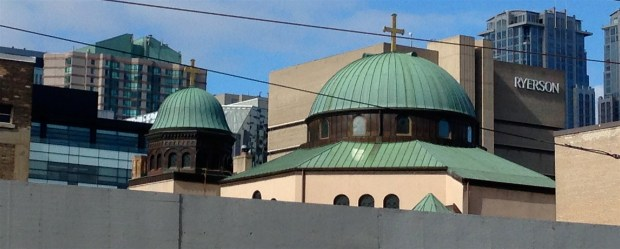 More interesting skyline, including the domes of St. George's Greek Orthodox Church on Bond Street.
