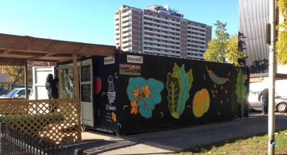 Moss Park container market, on Queen East.