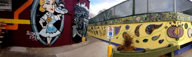 Coxwell Laneway Mosaic Mural - next time we'll follow the lane to the north!