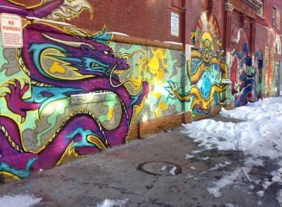 Nice new triple dragon mural on St. Andrew's Street.