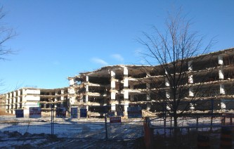 Demolition of the WestLodge Apartments and parking structure, at Cunningham and O'Hara