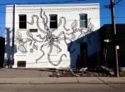 New Jeff Blackburn mural on lower Dovercourt (for Cabin development). Almost like giant wallpaper. Lovely.