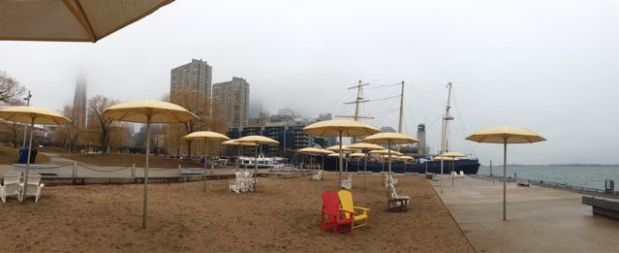 Icebox is on the HTO Beach, so we look around a bit. Sailing ship. Misty downtown skyline. All good.