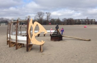 on the beach - firepit and bench