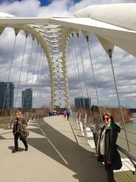Elizabeth and Julie on the Humber Bay Bridge