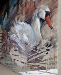 """under Gardiner, on Parkside """"Fractured Space"""" by Li-Hill - a crumbling wall with great mural..."""