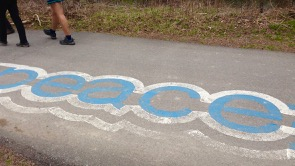 Peace - part of pathway decoration on PanAm Path near Don River - Sally & Kathy's feet!