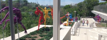 colourful Bill Lishman sculptures on the west deck of Bridgepoint