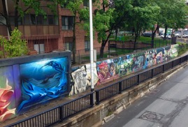 Bloor rail-underpass mural, north side