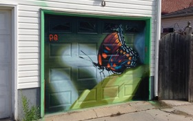 new lane garage door murals (all about pollinators) Garrison Creek Park laneway - here's work by Phil Saunders