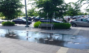 Fun water-spray on Front Street East