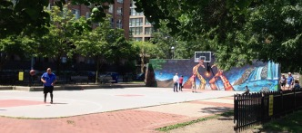 """On The Esplanade, David Crombie Park - where that basketball tourney will take place - and a great mural!! (by Jamii kids - an Esplanade-improvment organization, under guidance of Elisa """"Shalak Attack"""" Monreal & Julian Periquet) Excellent!"""
