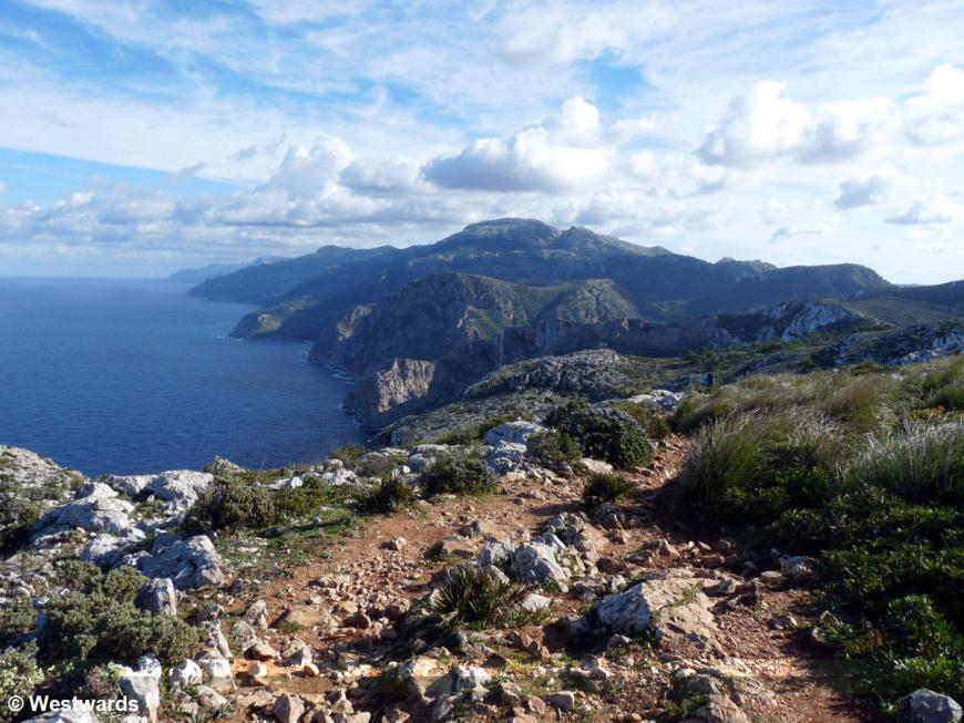 hiking trail GR221 on Mallorca with view over the coast