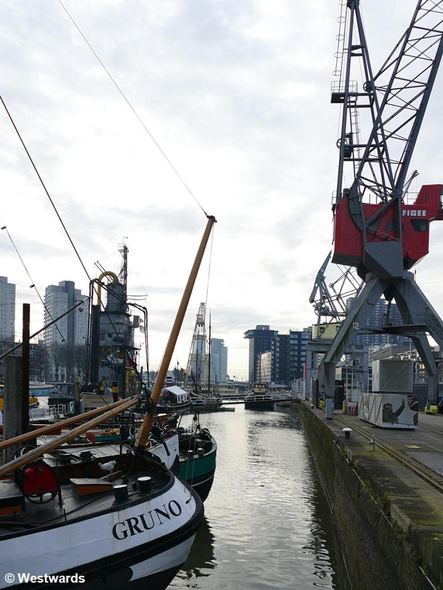 boats in Rotterdam Harbor