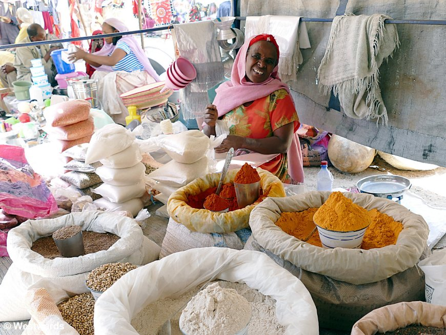 Woman selling spices at a market in Eritrea
