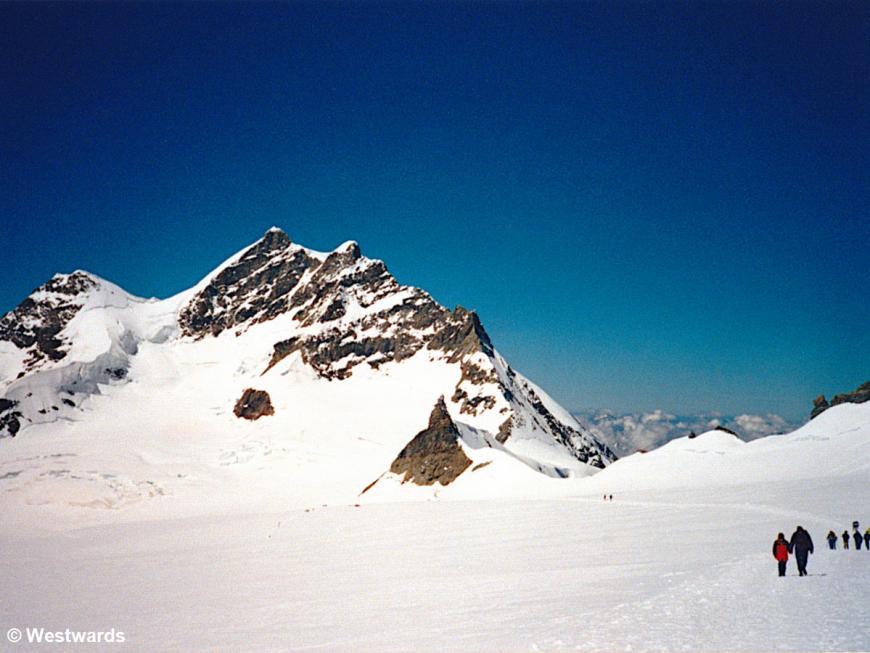 people walking on a snowfield near Jungfraujoch