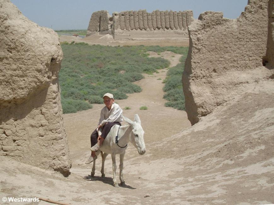 Boy on a donkey in ancient Merv ruins