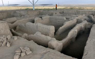 Mud walls at the excavation of Sarazm
