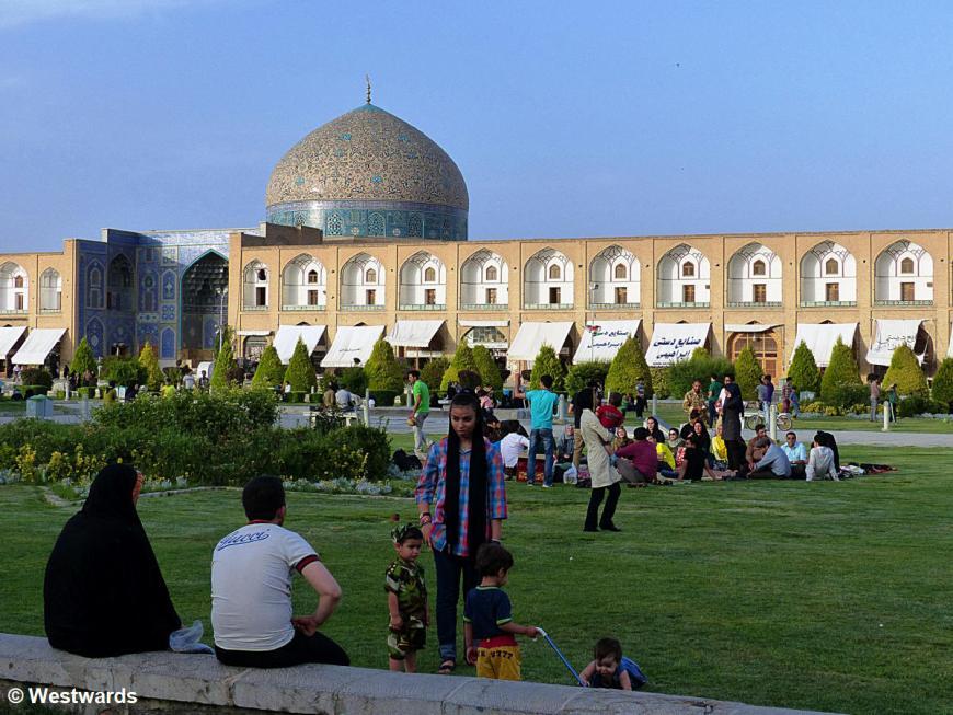 people picnicking on Isfahan's Naqshe Jahan Square