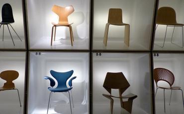 Designer chairs at the Design Museum