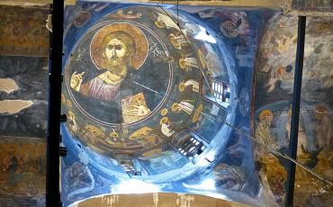 Fresco of the Pantocrator in the cupola of Gracanica