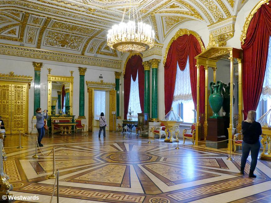 The Malachite room of the Hermitage with sightseers