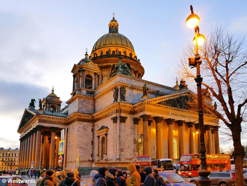 St Isaac cathedral in St Petersburg with sightseers
