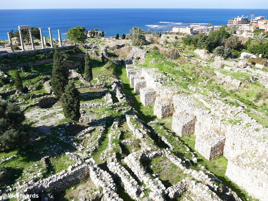 Archeological site of Byblos with blue sea in the background
