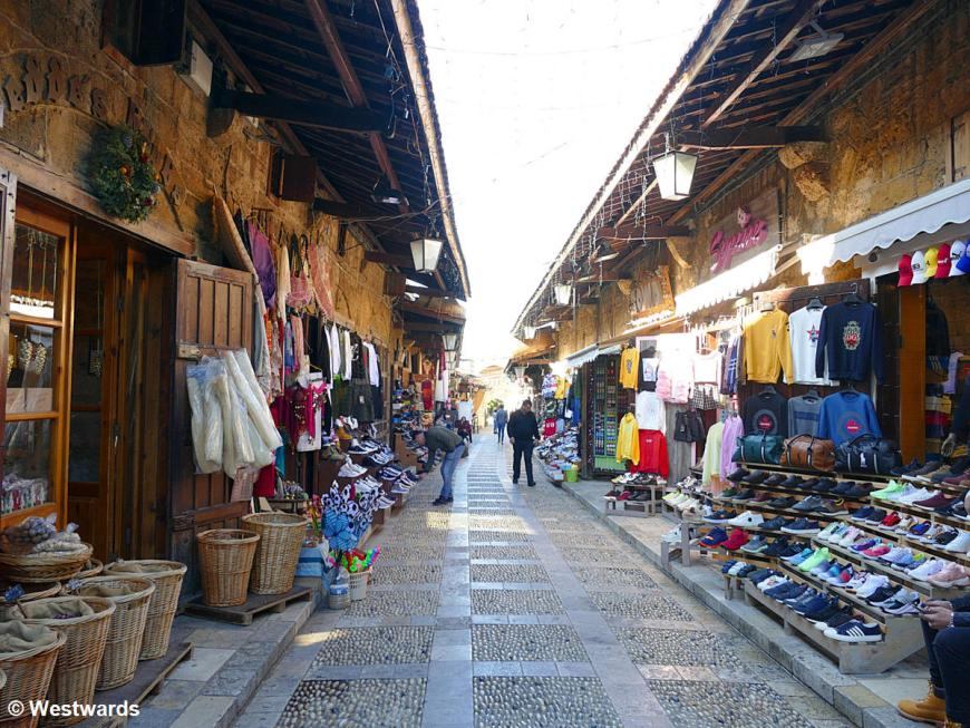 Market stalls selling clothes in Byblos