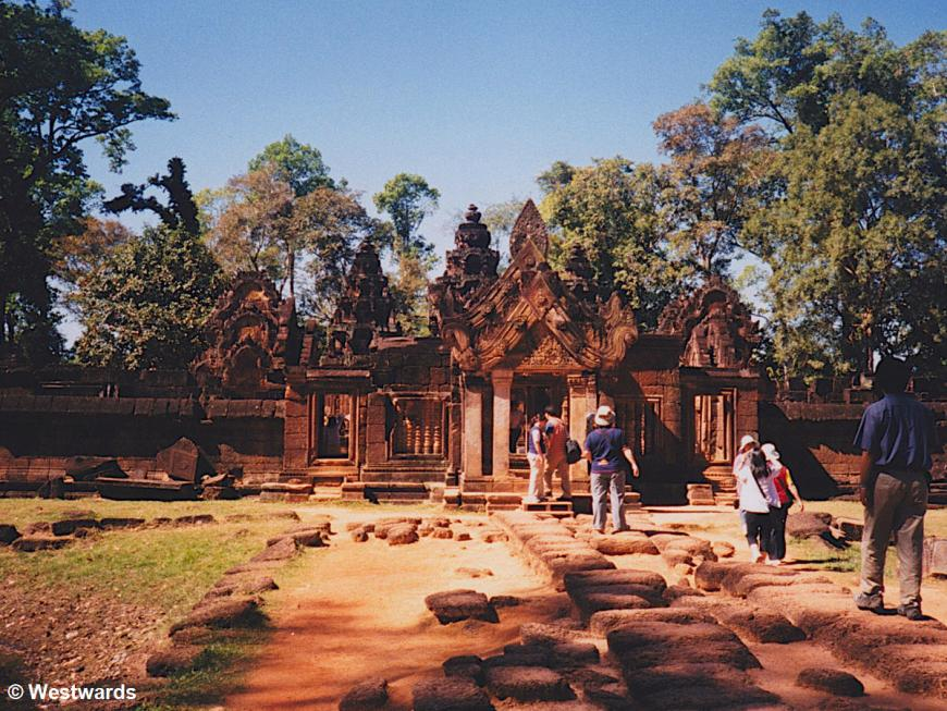 Asian tourists visiting Banteay Srei in Angkor Wat in 2001