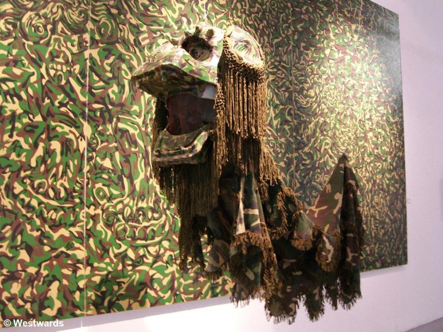 Modern art in Beijing: Camouflage dragon by Qiu Zhijie
