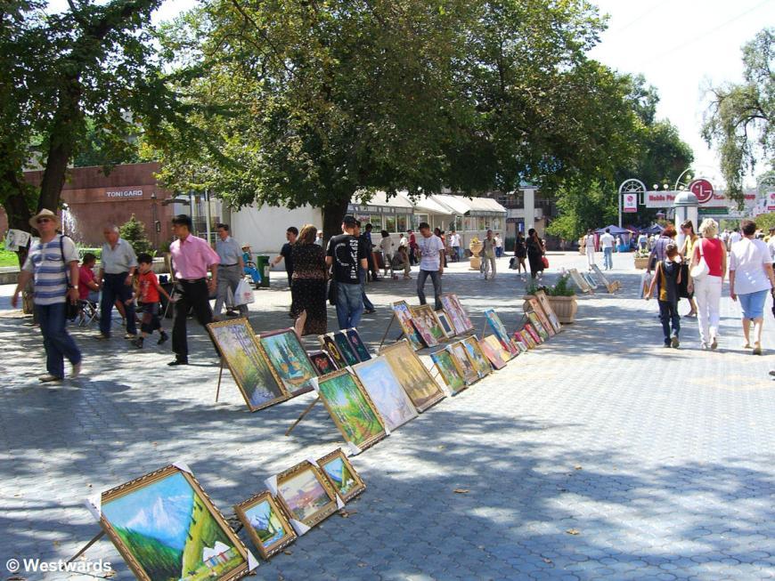 European ambiente in a pedestrian-only street in Almaty