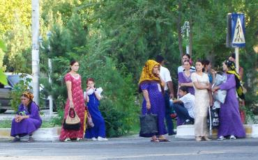 Women waiting at a bus stop, Turkmenistan