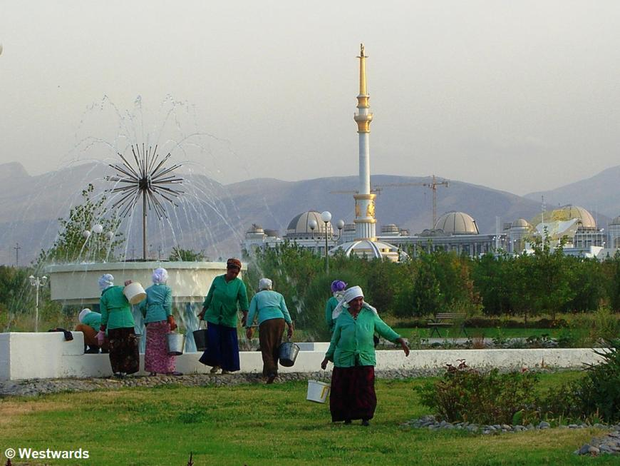Female gardeners in Ashgabad, Turkmenistan