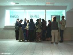 Natascha exiting our Turkmenistan transit visa in Turkmenbashi