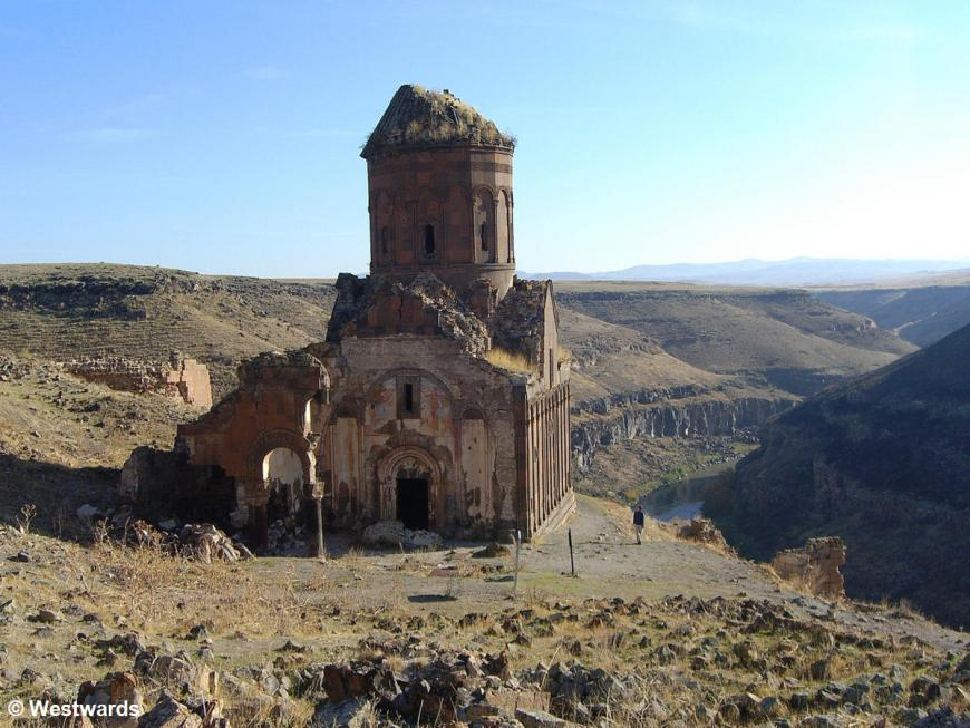 Natascha and Ruins of the Church of St.Gregory in Ani, Turkey