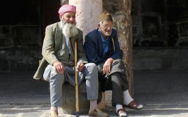 Old men sitting at Ulu Camii in Diyarbakir