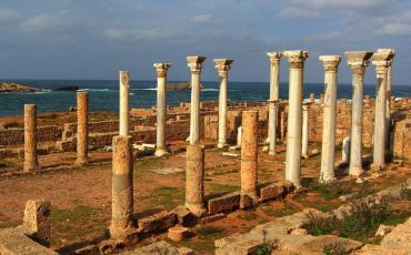 Marble pillars at the sea shore in Apollonia
